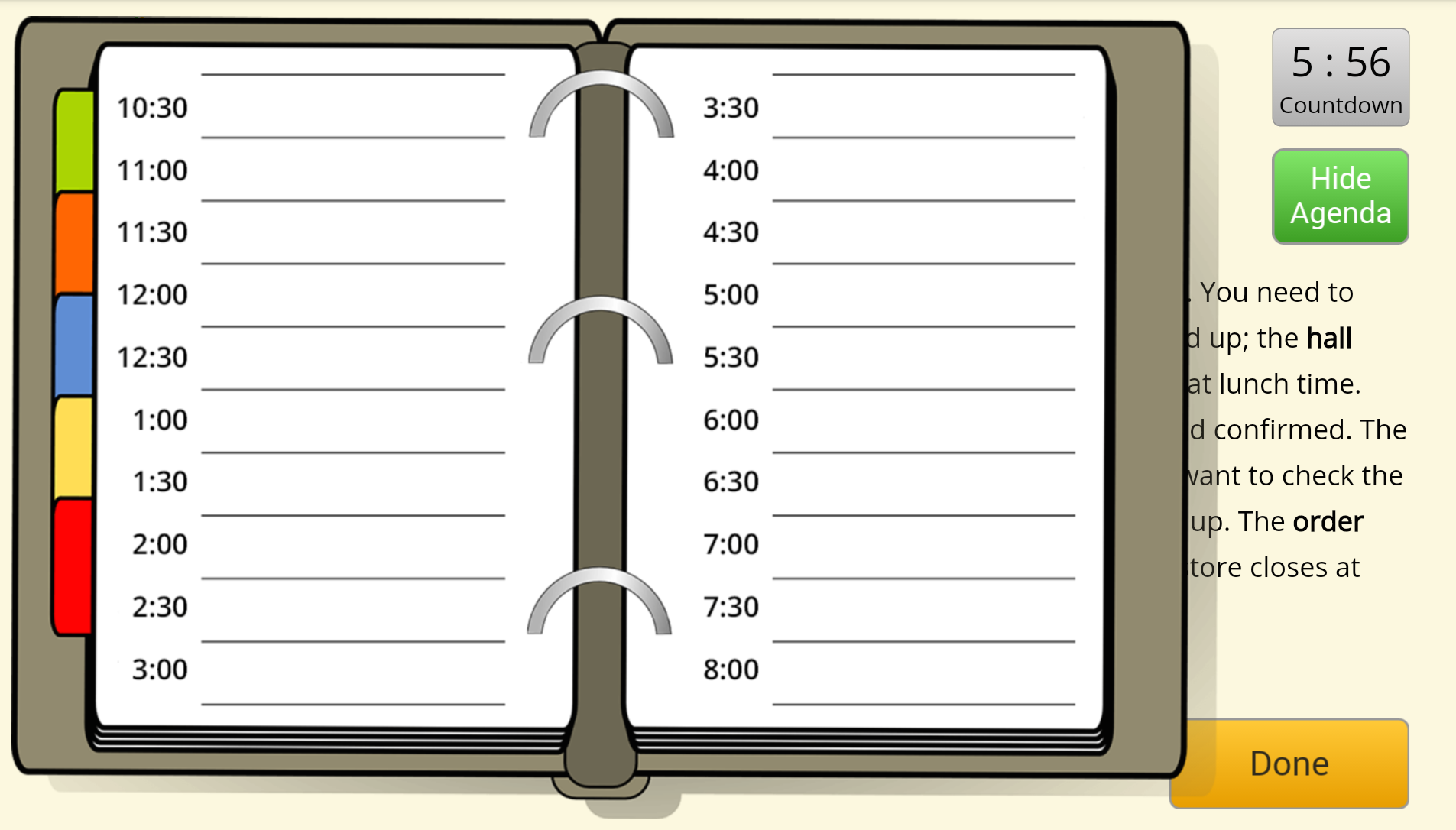 Planning a day activity